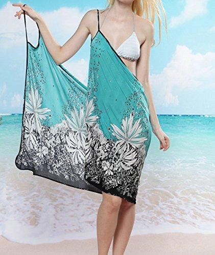 Pinkyee Women's Floral Bikini Swimwear Cover Up Beach Dress