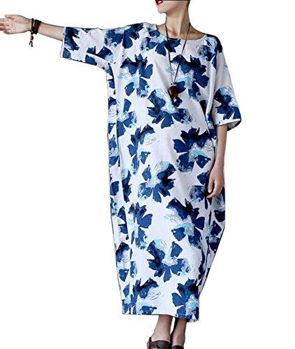 YESNO JEG Women Long Loose Maxi Floral Dress Linen Back Slit 1/2 Sleeve Pocket - Loose Fit Printed Pocket