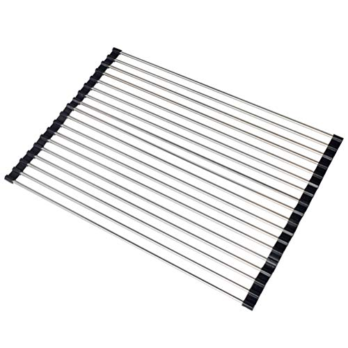 Roll-Up Dish Drying Rack&Insulation Mat, Silicone Coated Rim