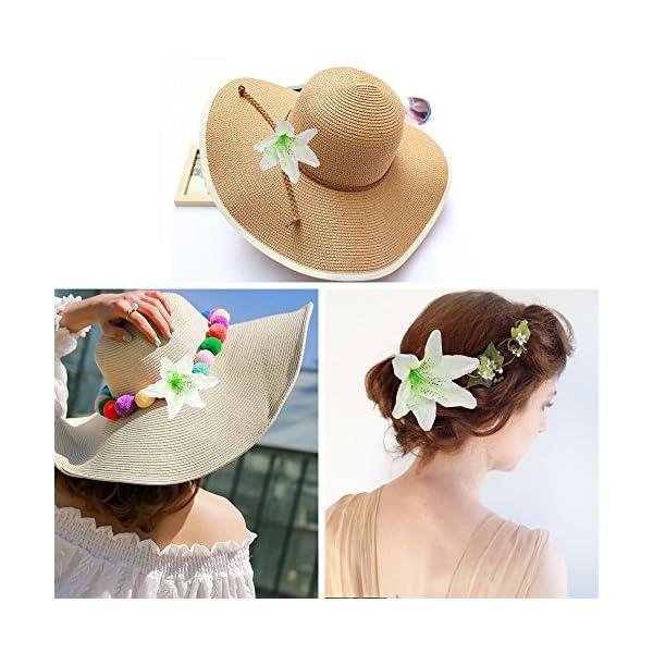 HZOnline-Artificial-Silk-Flower-Head-Lilies-Tiger-Lily-Heads-Decor-Bridal-Bouquet-Wreath-Headwear-Clip-DIY-Accessories-Wedding-Home-Party-Garden-Decoration-20pcs-White