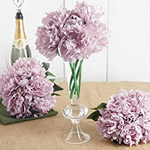 "Efavormart 5 Head Mauve Artificial Peony Silk Bouquet for DIY Wedding Party Bouquets Centerpieces Decoration - 11"" Tall 27"