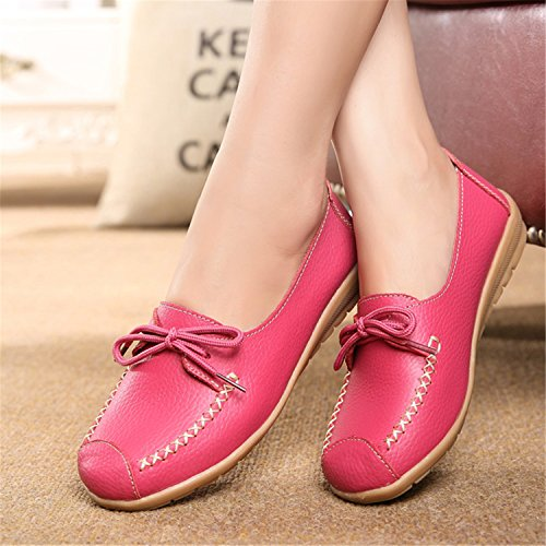 Beststore VAO Spring Autumn New Lace Mother Flat Shoes Fashion Shallow Mouth Ladies Peas Shoes tendon Casual Women Leather Shoes 35-40 Red 8.5