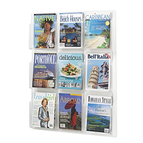 Safco Products Reveal 9 Magazine Display, 5603CL, Wall Mountable, Thermoformed Plastic Resin Construction, No Sharp Edges or ()