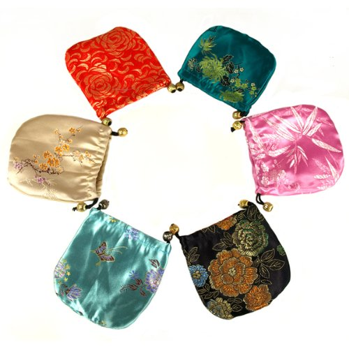 12pc Silk Brocade Jewelry Gift Pouch Bags