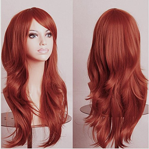 Anime Cosplay Synthetic Full Wig with Bangs for Women Girls 23'' Long Layered Wave Japanese Kanekalon Heat Resistant Fiber 19 Colors (dark - Orange Of Stores Mall