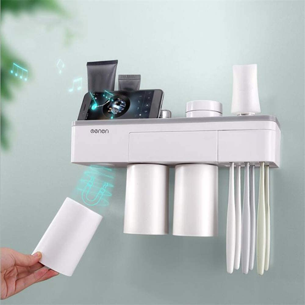 Walmeck Multi-Functional Wall-Mounted Toothbrush Holder Storage Rack Mobile Phone Holder Storage Organizer with Two//Three Cups Home Bathroom Accessories