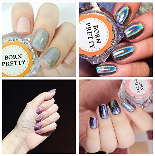 BORN PRETTY 9 Boxes Pearl Powder Nail Mirror Effect Colorful Nails Art Glitter Iridescent Metallic Manicuring Pigment 1G 7