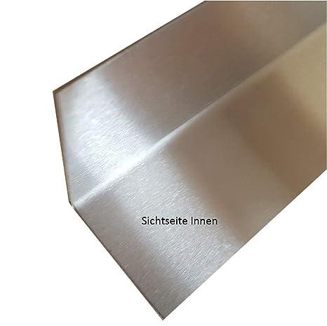 Edelstahl Abschlussleiste für Arbeitsplatten, Innen Winkel, Sockelleiste,  Fußleiste (Edelstahl INNEN geschliffen 0,8mm, 30 x 30 mm)