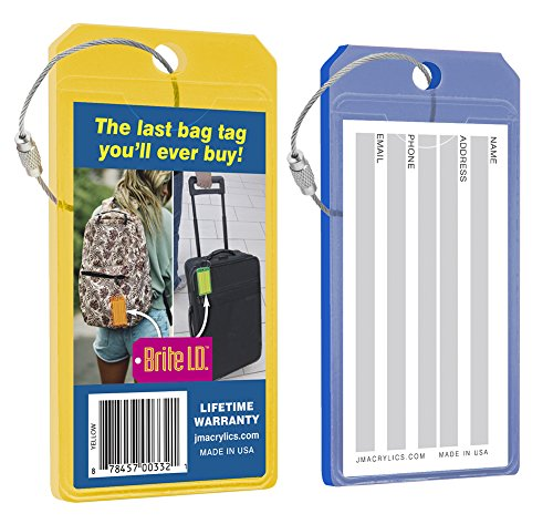 Yellow Neon Luggage Tag (Brite I.D. Neon Blue/Yellow Luggage Tag Combo Pack, Set of 2)