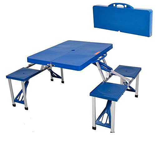 KARMAS PRODUCT Portable Folding Picnic Table with 4 Seats,Lightweight Plastic Outdoor Camping Suitcase Table with Chairs,Blue