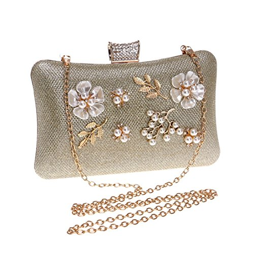 Clutch Flower Oro oro Bag Crossbody Women Waveni Evening colore qg6zB6P