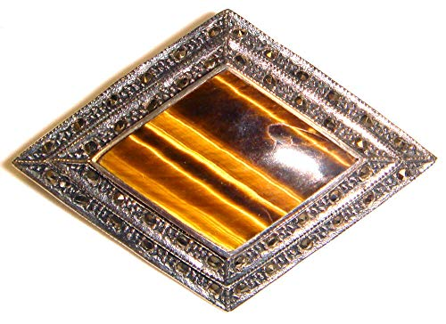 - (Last ONE!) Tigers Eye PIN Brooch Genuine Stone Marcasite .925 Sterling Silver ВК-108