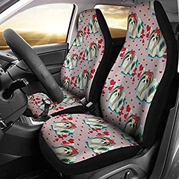 Cute Yorkie Dog Pattern Print Car Seat Covers Universal Fit
