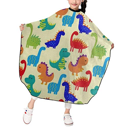 Haircut Cape Cute Colorful Dinosaur Amazing Hairdressing Apron Polyester Water Resistant Hair Cutting Cape for Kids