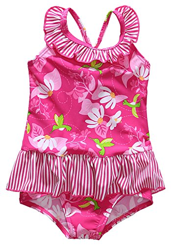 Alove Baby Girl's Hummingbirds Flowers One Piece Striped Ruffle Swimsuit 0-6 Months