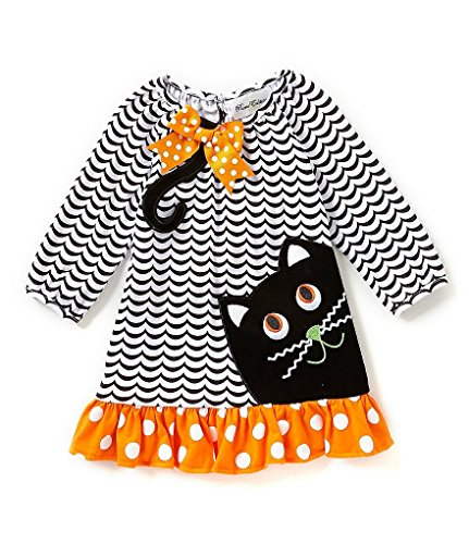 Rare Editions Girls Chevorn Black Cat Fall Halloween