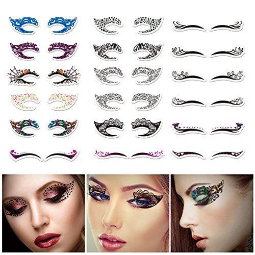 Temporary Eye Tattoo stickers, ETEREAUTY Eye Makeup Stickers Waterproof Eyeshadow Eyeliner Designs