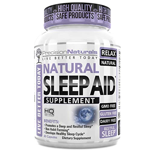 - Sleep Aid W/Melatonin Non Habit Forming Natural Sleeping Supplement Pills 60 Capsules Chamomile Magnesium Valerian GABA Lemon Balm Extract Nighttime Herbal Formula Stress Trouble Sleeping Relief