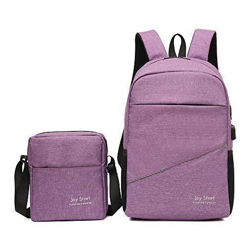 Laptop Backpack,Business Travel Computer Bag for Women & Men Boys Girls, USB Charging Port,Water Resistant College School Student 2 Piece Bag Bookbag, Lightweight 15.6 Inch Laptop&Notebook (Purple)