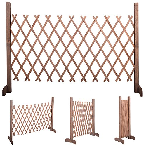 Expanding Portable Wooden Fence Screen Gate Kid Safety Dog Pet Patio Garden Lawn (Freestanding Kennel)
