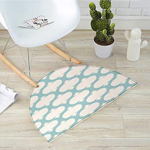 (Aqua Semicircle Doormat Mesh Pattern with Curvy Figures Ancient Arabic Lattice Design Old Fashioned Pastel Halfmoon doormats H 31.5