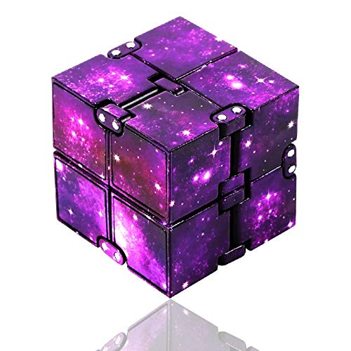 Infinity Cube Fidget Toys, Fidget Cube Stress and Anxiety Relief Mini Toys, Toy Relaxing Hand-Held for Adults Kids, Killing Time Cool Fidget Blocks for ADD/ADHD/OCD Purple Eoqiza