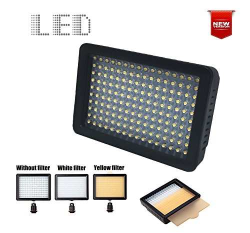 160 LED Photo Video Light for DSLR Camera and Camcorder. Ultra Bright & Dimmable Studio Video Light Panel w/ Camera Mount & Filters for SONY Canon Nikon Pentax Panasonic Samsung Digital SLR (160LED)