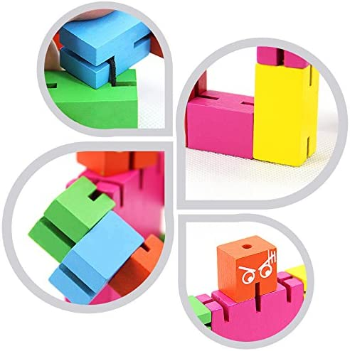 Multi Color TooGet Brain Teaser Puzzle,Wooden Magic Cube Robot