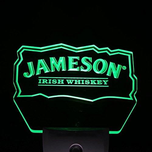 Jameson Irish Whiskey Club Pub Home Bar Room Decor Day/Night Sensor Led Night Light Sign (BLUE) (Green)