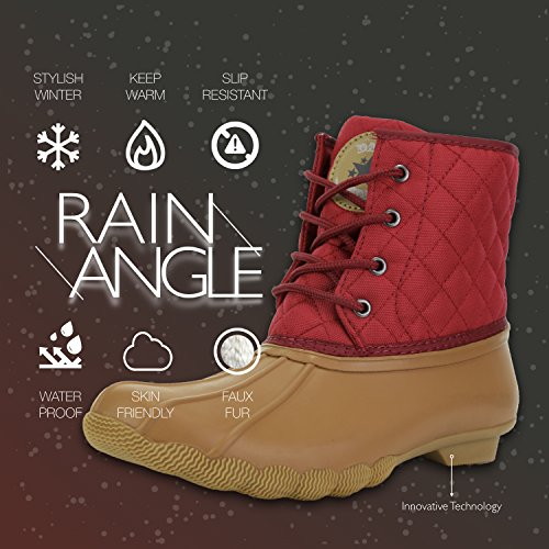 Snow Padded up Rain Tan Waterproof High Duck Mud Boots DailyShoes Red Women's Booties Quilted Ankle Rubber Bq8qIa