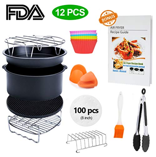 8 inch XL Air Fryer Accessories 11 pcs with Recipe Cookbook Compatible for Gowise USA Cozyna Airfryer XL 5.3QT – 5.8QT, Deluxe Deep Fryer Accessories Set of 12