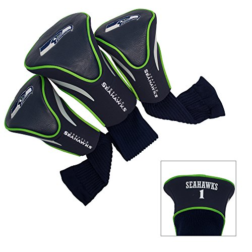 NFL Seattle Seahawks Golf Contour 3pc Head Covers New (Seahawks Golf Club Covers)