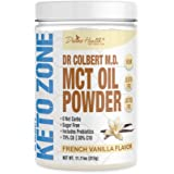 Keto Zone MCT Oil Powder   All Natural Vanilla Flavor   300 Grams & 30 Day Supply   Recommended in Dr. Colbert's Keto…