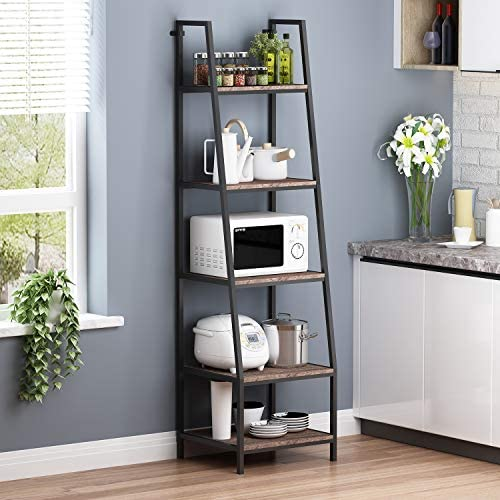 O K FURNITURE 5-Shelf Ladder Bookcase, Leaning Bookcases and Book Shelves, Industrial Corner Bookshelf, Home Office Etagere Bookcase-72 H x 20 W x 17 D Gray-Brown Finish 1-pc