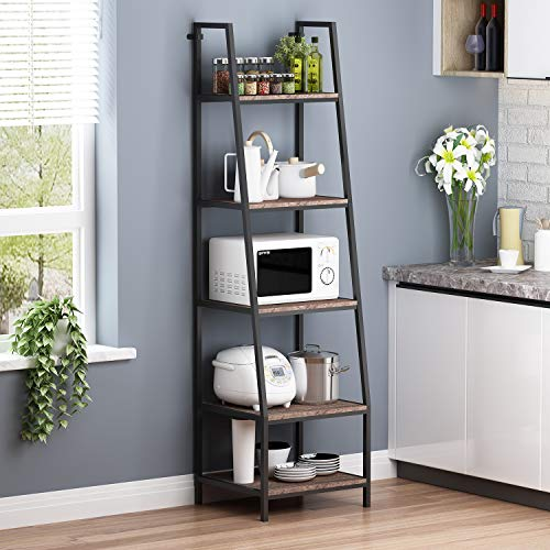 O K FURNITURE 5-Shelf Ladder Bookcase, Leaning Bookcases and Book Shelves, Industrial Rustic Bookshelf, Home Office Etagere Bookcase-72 H x 20 W x 17 D Gray-Brown Finish 1-pc