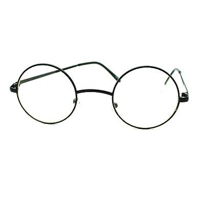 black round circle clear lens eyeglasses small size thin frame unisex glasses