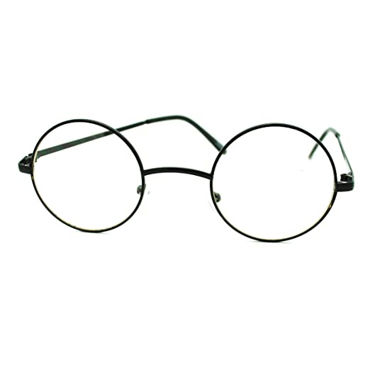 8d284ac650e0 Black Round Circle Clear Lens Eyeglasses Small Size Thin Frame Unisex  Glasses