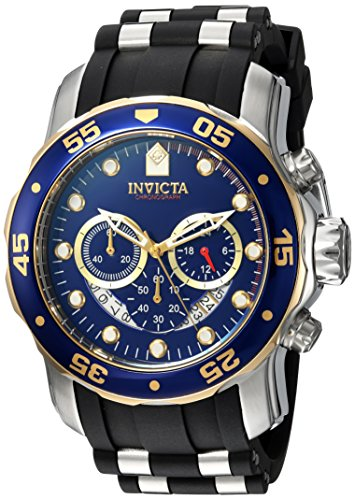 Invicta Mens Pro Diver Quartz Stainless Steel and Silicone Casual Watch, Color:Black (Model: 22971)