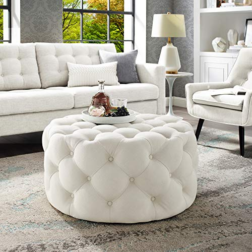 Inspired Home Cream Linen Cocktail Ottoman - Design: Bella | Allover Tufted | Round | Castered Legs