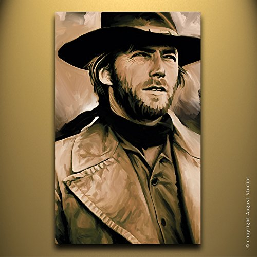 CLINT EASTWOOD Original Artwork Artist Signed Canvas Art Print (Large 30