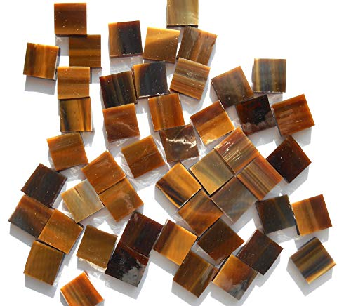 Brown Mosaic Glass - FortySevenGems 100 Pieces Stained Glass Mosaic Tiles 1/2-Inch Tan Brown Mix Glass Textured