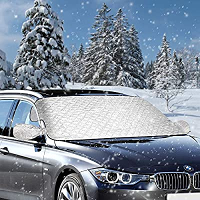 Mopoin Car Windshield Cover, Magnetic Car Snow Cover Protector, Frost Guard Windshield Cover with Rearview Mirror Protector, Fit Most Cars/SUV,Best for Ice, Snow, Frost and Sun Protection