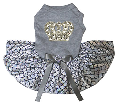 Petitebelle Gold Crown Grey Shirt Bling Silver Fish Scales Mermaid Dog Dress (Large)