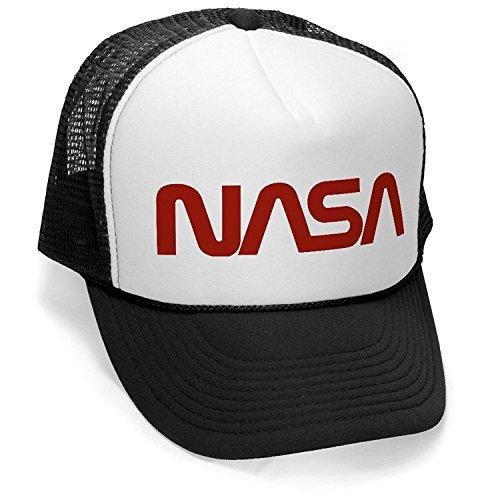 OLD NASA LOGO - space retro funny geek nerd Mesh Trucker Cap Hat Cap, Black - Retro Hat