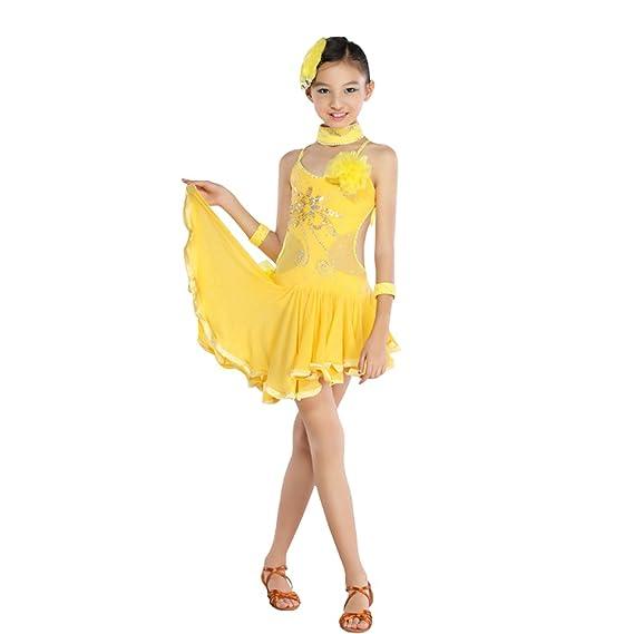 dfaa3129f2343 Huicai Sexy Robe de Danse Latine Femmes Paillettes Gland Jupe Dames Robe de  Danse Latine Salle de Bal Salsa Danse Concurrence Costumes  Amazon.fr   Vêtements ...