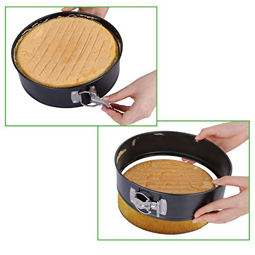 "Lifewit Springform Pan 9"" Nonstick Leakproof Cake Bakeware Cheese Cake Pan for Instant Pot with Removable Waffle Bottom and Quick-Release Latch Black Coating"