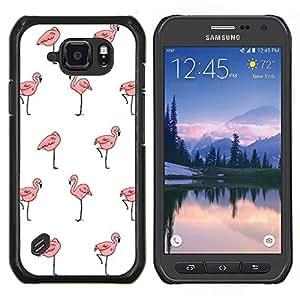 TECHCASE---Cubierta de la caja de protección para la piel dura ** Samsung Galaxy S6 Active G890A ** --papel tapiz flamenco rosado blanco limpio