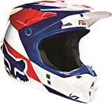 FOX V1 MAKO MX DIRTBIKE ATV UTV SXS BLUE WHITE RED Helmet LARGE #14406-025-L