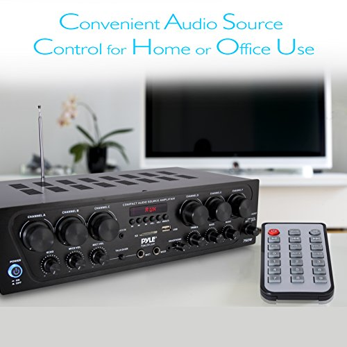 Bluetooth Home Audio Amplifier System - Upgraded 2018 6 Channel 750 Watt Wireless Home Audio Sound Power Stereo Receiver w/ USB, Micro SD, Headphone, 2 Microphone Input w/ Echo, Talkover for PA - Pyle by Pyle (Image #4)