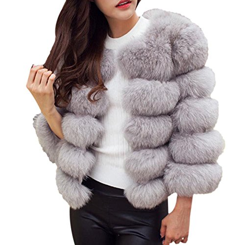Women Faux Fox Fur Jacket - Luxurious Thick Short Coat Warm ...